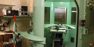 The death chamber at California's San Quentin State Prison is shown in this undated file photograph