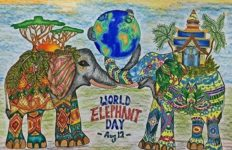 Aug 12 .. World Elephant Day .. #eleedraw #worldelephantday #colouring #coloring .. Where's yours? @dynna1125